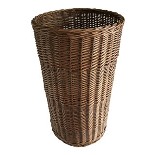 1960s Boho Chic Tall Wood Wicker Basket Vessel For Sale