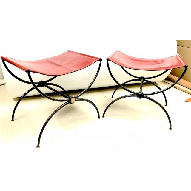 """1940s Rene Prou Pair of """"X"""" Stools in Wrought Iron and Red Hermes Color Leather For Sale - Image 5 of 6"""
