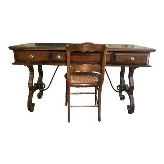 1950s Victorian Walnut Writing Desk For Sale
