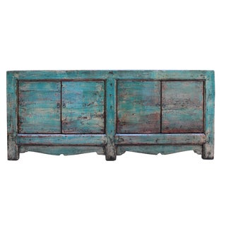 Distressed Teal Blue Green Finish High Credenza Console Buffet Table For Sale