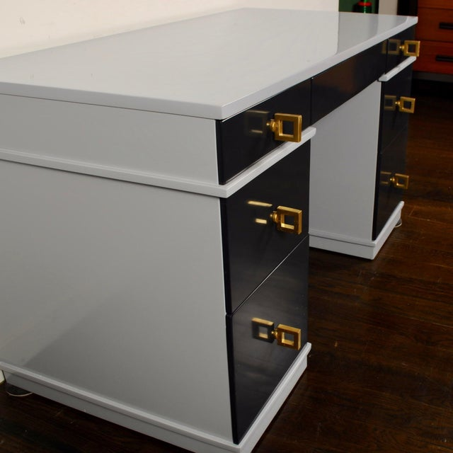 Mid Century Lacquered Double Pedestal Desk For Sale In New York - Image 6 of 10