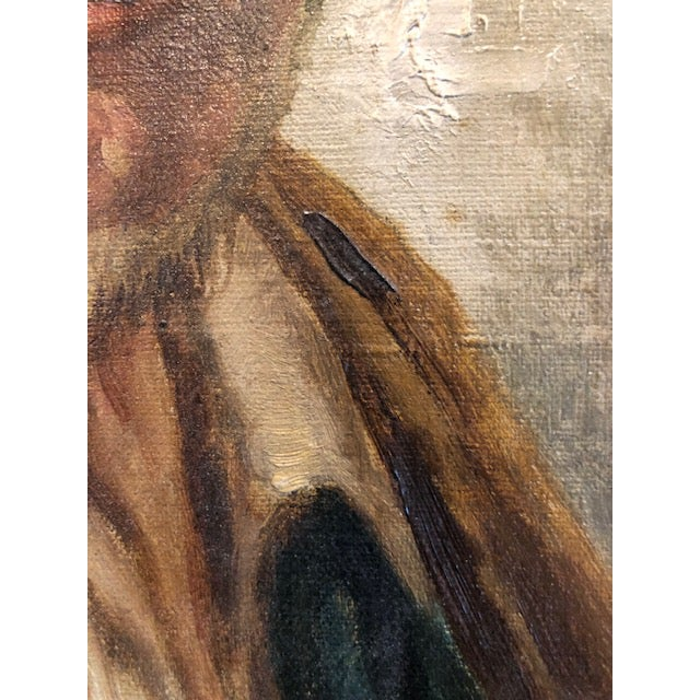 Late 19th Century Antique Roberto Figerio Oil on Canvas Portrait Painting