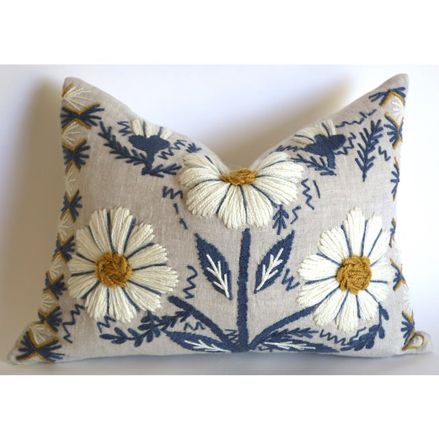 Schumacher Swedish Schumacher Embroidered Pillow Cover in Blue, Ochre, & Natural For Sale - Image 4 of 5