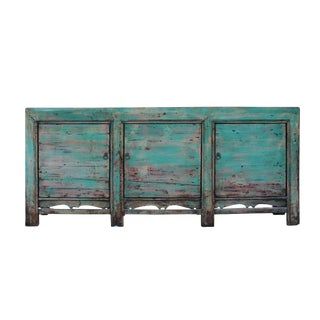 Distressed Pastel Teal Blue Finish High Credenza Console Buffet Table For Sale