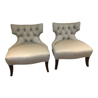 Barbara Barry Leather Chairs-a Pair For Sale