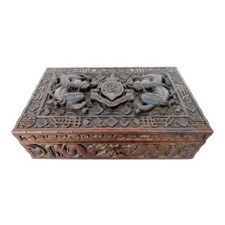 British Colonial Wood Storage Box For Sale