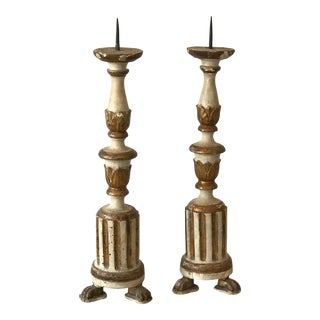 Italian Antique Candlestick Prickets - a Pair For Sale