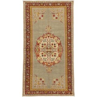 "Vintage Oushak Hand-Knotted Rug - 3'5"" x 6'7"" For Sale"