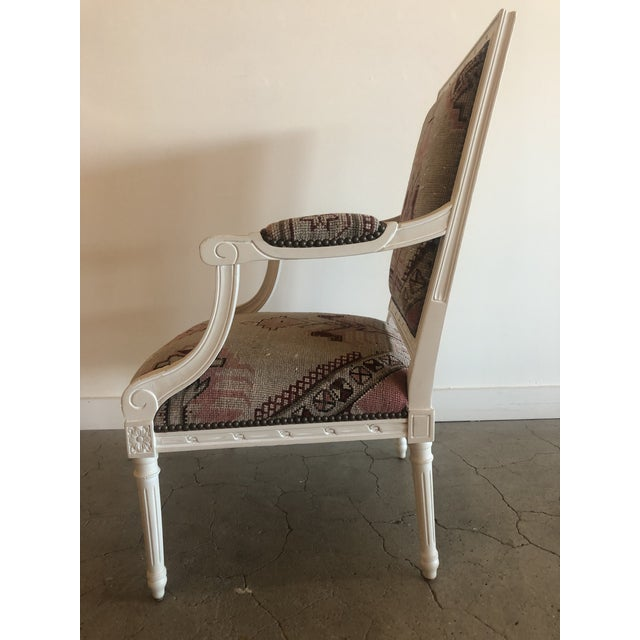 Islamic Vintage Carved Italian Chair Upholstered in Antique Rug For Sale - Image 3 of 8