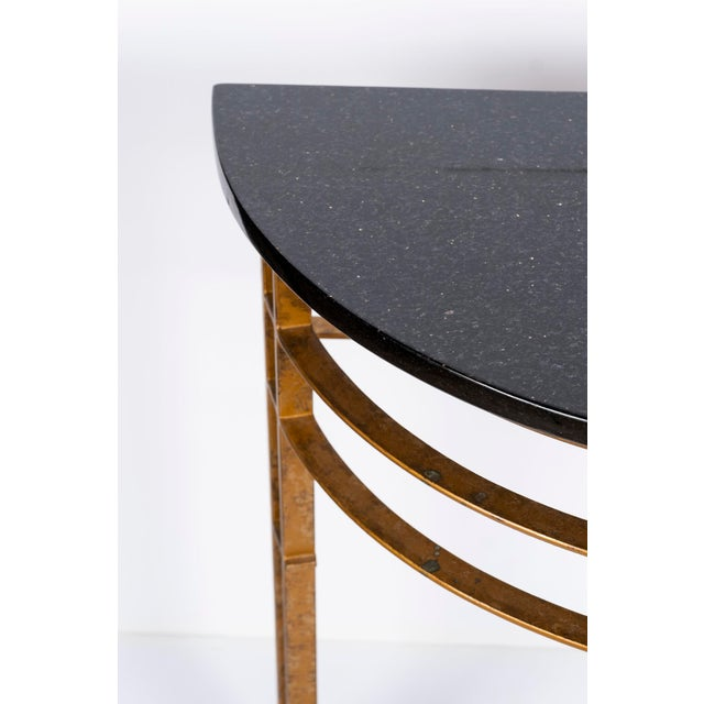 Metal Gilt Iron and Granite Demi Lune Consoles For Sale - Image 7 of 10
