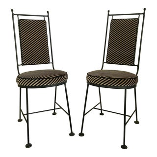 Mid-Century Modern Iron and Striped Salterini Style Chairs- a Pair For Sale