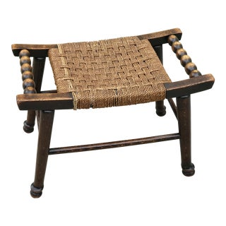 Early 20th Century Antique English Bobbin and Rope Oak Footstool For Sale