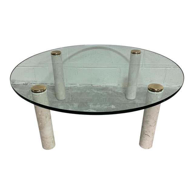 1970s Pace Collection Marble & Glass Coffee Table For Sale