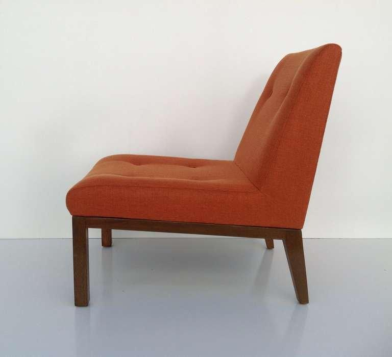 Slipper Chair Designed By Edward Wormley For Dunbar. Newly Upholstered In A  Orange Fabric Closely