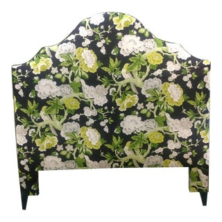 "Custom Upholstered Queen Bed in Schumacher ""Bermuda Blossoms"""