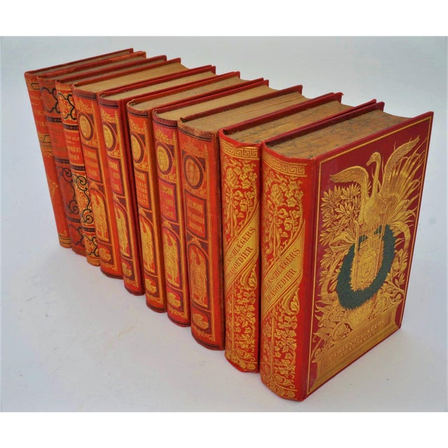 Red Antique 19c Decorator Books - Red With Gold Embossing For Sale - Image 8 of 8
