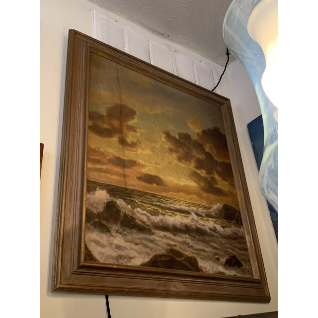 Vintage Mid-Century Framed Sunset Seascape Oil on Canvas Painting For Sale In Seattle - Image 6 of 6