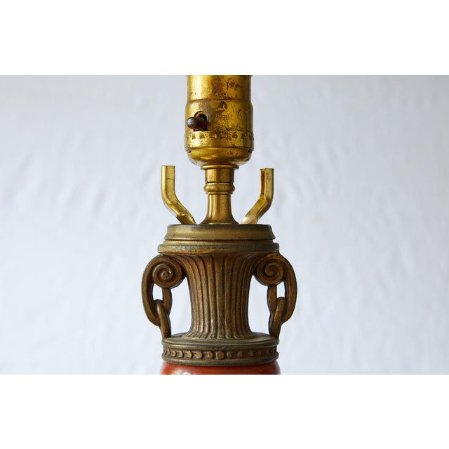 Petite Art Deco Lamp of Orange Bakelite For Sale - Image 11 of 13