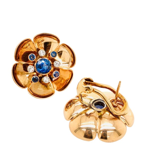 Mid-Century Modern Retro 14k Rose Gold Sapphire Diamond Pierced Clip Earrings For Sale - Image 3 of 4