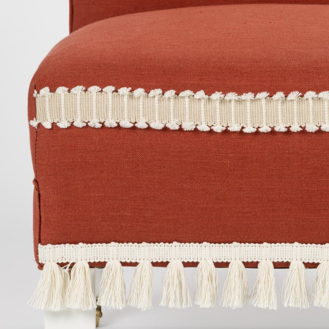 Red Casa Cosima Sintra Chair in Paprika Linen For Sale - Image 8 of 10