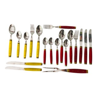 Midcentury French Bakelite/Brass Kitchen Flatware (19) Red and Yellow For Sale