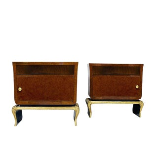 1940s Pair of Rounded Night Stands, Burr Thuja, Bird Eyes Maple, Walnut, Italy For Sale