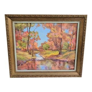 Vintage Autumn Landscape Framed Oil Painting Signed For Sale