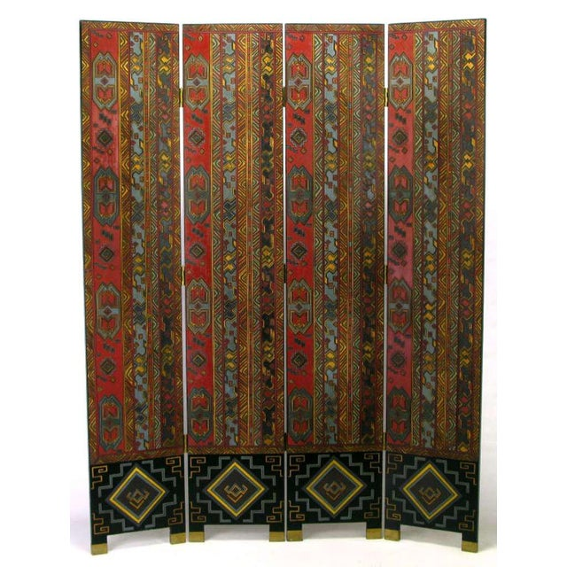 Colorful Carved & Parcel Gilt Art Deco Style Four-Panel Screen For Sale - Image 4 of 7