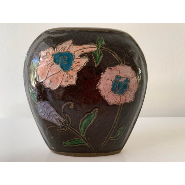 Vintage Enameled Brass Vase & Jar - Pair For Sale In Miami - Image 6 of 9