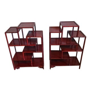 Pair of Chinese Rosewood Hongmu Faux Bamboo Tiered Etagere Stands For Sale