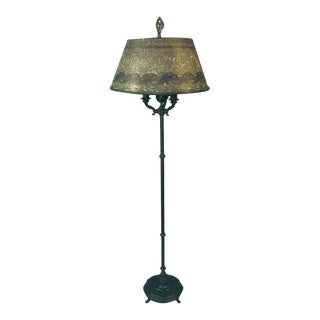 Early 20th Century Rembrandt Floor Lamp With Exceptional Mica-On-Mica Shade For Sale