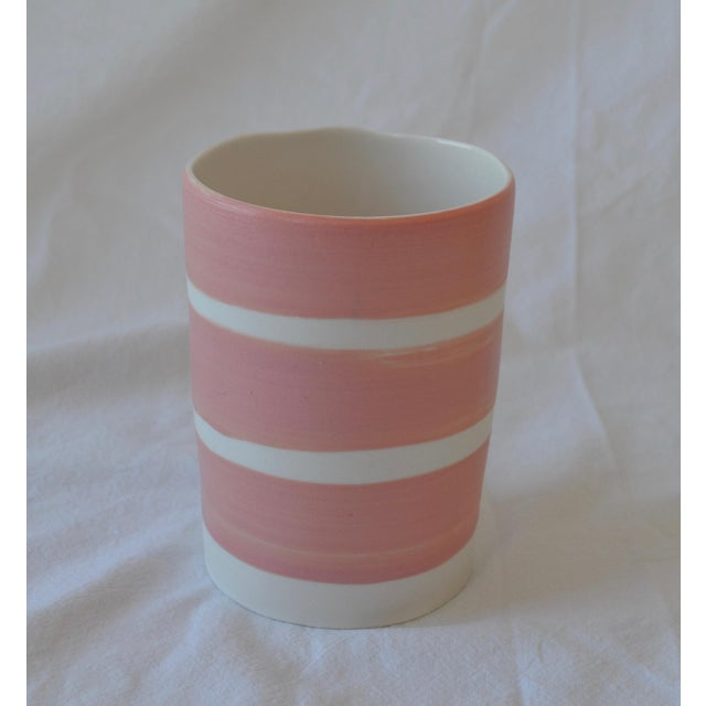 2010s Contemporary Ceramic Multi Striped Cylindrical Vessels - Group of 5 For Sale - Image 5 of 13