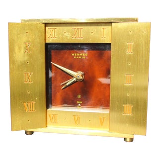 Hermes Gilded and Satin FinishTravel Clock For Sale