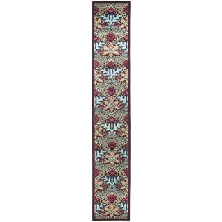 Black Floral Art Deco Runner Rug For Sale