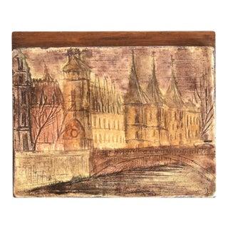 Mid-Century French Paris Palais De La Cite Souvenir Ceramic Matchbox Cover For Sale