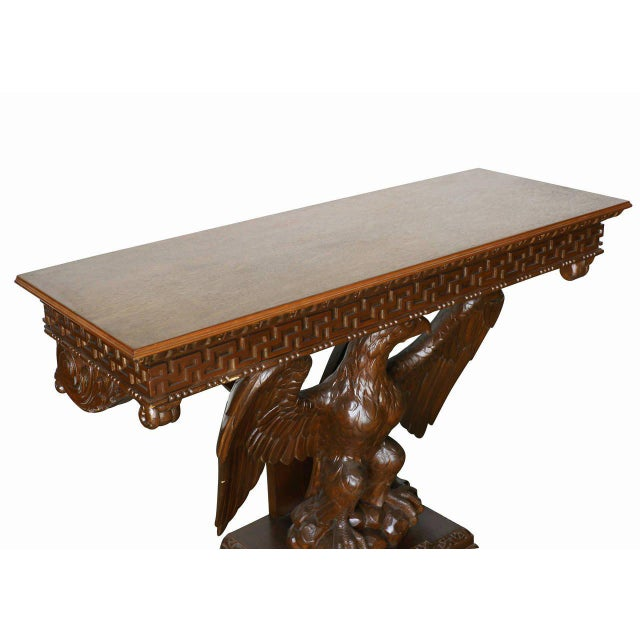 American American Neoclassical Hand-Carved Eagle Console Table, Pair Available For Sale - Image 3 of 7