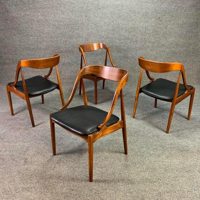 Mid-Century Modern 1960s Vintage Johannes Andersen Danish Modern Walnut Dining Chairs- Set of 4 For Sale - Image 3 of 10