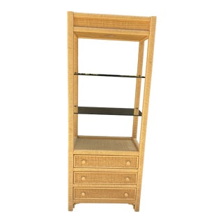 1970s Henry Link Mid Century Wicker Wrapped Shelf For Sale
