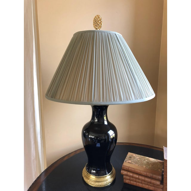 19th Century Antique Black Porcelain Table Lamp For Sale - Image 9 of 9