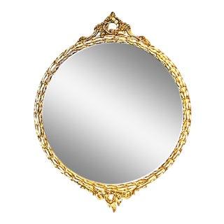 Vintage American Rococo Round Mirror For Sale