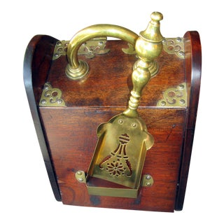 19th Century Mahogany Scottish Coal Scuttle With Heavy Brass Ornamentation For Sale