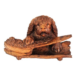 Antique Black Forest Carved Dog Inkwell & Pen Tray For Sale