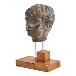 Early 20th Century Carved Plaster Bust on Walnut Stand For Sale