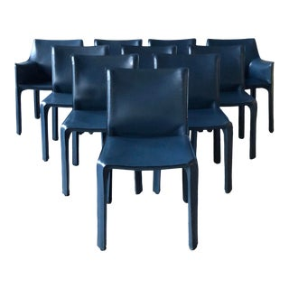 Navy Leather Cassina Cab Chairs by Mario Bellini- Set of 10 For Sale