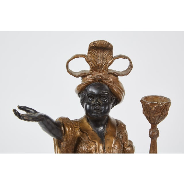 Pair of 19th Century Female Patinated Bronze Blackamoors For Sale - Image 4 of 6