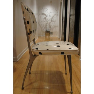 1960s Vintage Mid-Century Modern White & Black Polka Dot Vinyl Dining Accent Chair Preview
