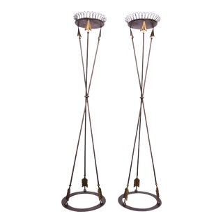 """Pair of Maitland Smith Neoclassical Iron """"Arrow"""" Torchières / Plant Stands For Sale"""