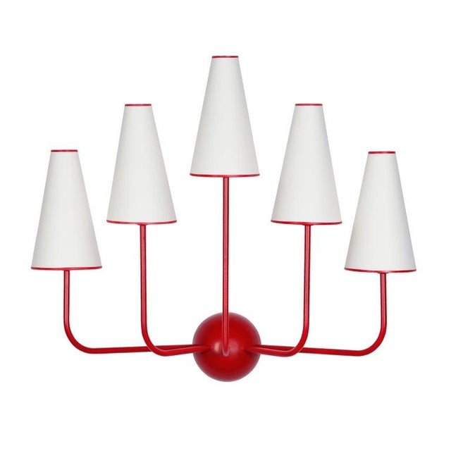 French Large Five-Arm Red Wall Lamp in the Style of Jean Royère For Sale - Image 3 of 6