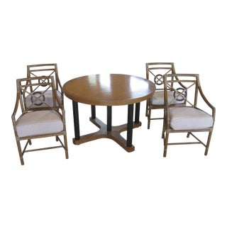 McGuire Target Bamboo Chairs & Dining Table - Set of 5