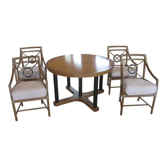 McGuire Target Bamboo Chairs & Dining Table - Set of 5 - Image 1 of 8